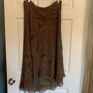Ralph Lauren Silk Paisley High/Low Skirt, Sz 12